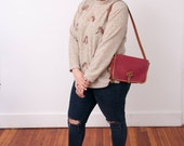 Vintage Horse Print Sweater - VTG Horse Sweater - Vintage Pullover with Pony Design - 90s Fashion - Grandma Fashion - Size Medium Large