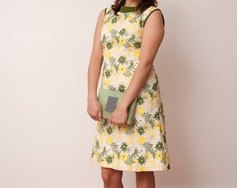 Vintage Floral Print Dress - Vintage Tank Dress - Parkshire Original - Green Yellow and White Flower Pattern Dress - Size Small Medium