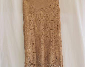 Crochet Gatsby Style Dress Cocoa Light Brown Rayon Short Sleeveless Dress NWT