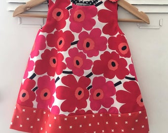 Size 1 Baby Girl Dress. Marimekko Smock Dress. PINK.