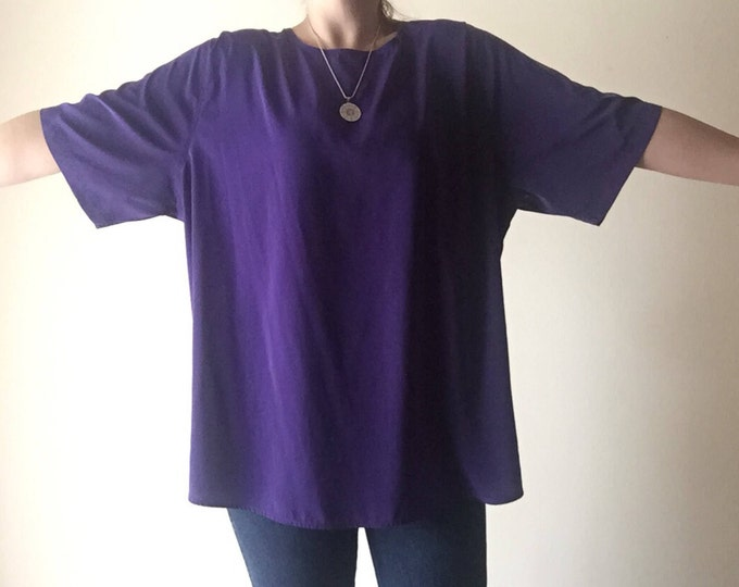 Plus Size Purple Top | 2X/3X royal purple short sleeve womens vintage 80s pullover o neck 90s vintage shirt top blouse extra large xxl