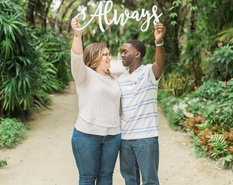 "Wedding Sign ""Always"" Photo Prop - Photography Sign for Wedding Portrait Bride & Groom Decoration Sign Cutout Words (Item - ALP100)"