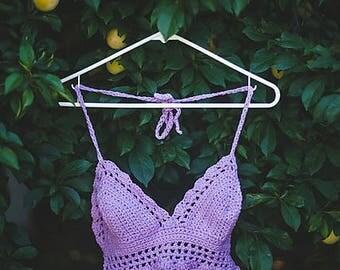 Scalloped Crochet Top, Festival Crochet Top, Boho Lavender Bralette, Crochet Bikini Halter Top