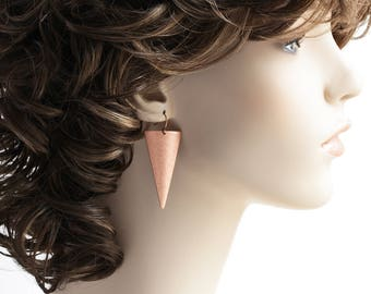 Antiqued Copper Plated Long Triangle Earrings (Leverback or Fishhook)