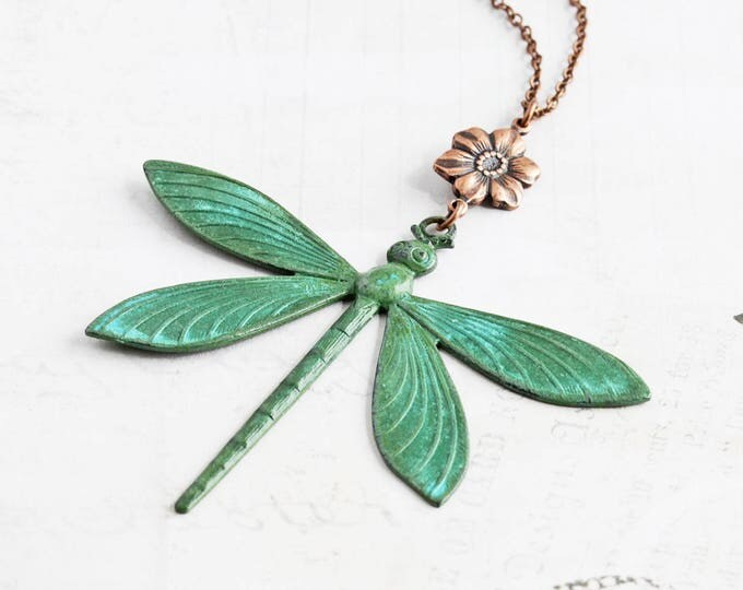 Featured listing image: Large Green Patina Dragonfly Pendant Necklace with Antiqued Copper Flower (Hand Patina)