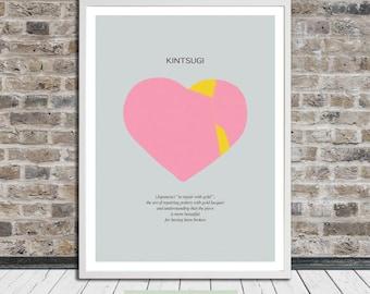 Kintsugi heart (pink), Kintsukuroi, Japanese aesthetics, Poster, Heart, Words, Printable Art, Instant Digital Download