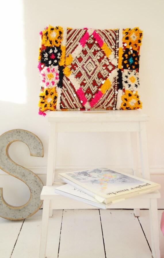 Vintage Moroccan Pattern Kilim Berber Carpet Cushions-lumbar, vintage cushions, christmas gifts, gifts, No.3
