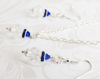 Sapphire blue jewelry set, bridesmaid crystal jewelry set, bridal party gift, wedding jewelry, bridesmaid gift
