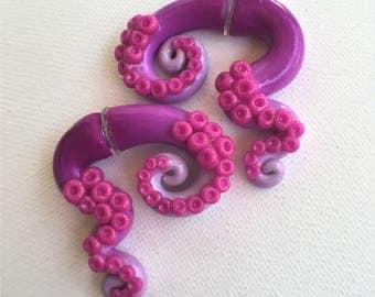 Amethyst Gradient Purple Octopus Tentacle Gauges, Large Colorful Earrings, Fake Plugs