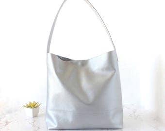 Vegan handbag leather vegan purse hobo, silver hobo bag, christmas gift for wife, vegan hand bag vegan leather, christmas gift for women