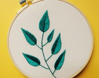 Turquoise leafy branch hand embroidered hoop art wall decor