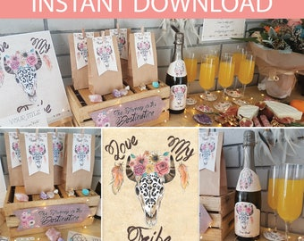 Boho Bridal Shower Party Collection DIY Printable Kit - INSTANT DOWNLOAD