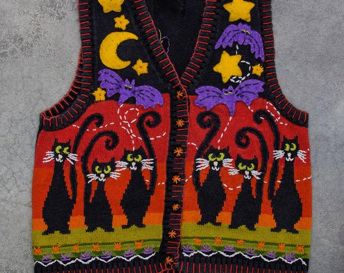 Vintage Halloween Sweater Vest | Colorful Cardigan Black Cats Tacky Halloween Jumper 7W