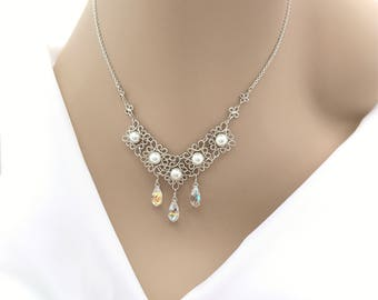 Bridal Necklace, Sterling Silver, Swarovski Crystals and Pearls