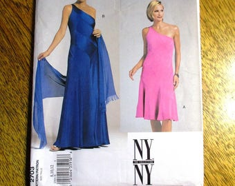 Designer Bias Cut Evening Gown with Stole - NY New York Collection - Size (8 - 10 - 12) - UNCUT Sewing Pattern Vogue 2703