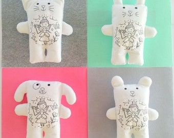 Color Me Toy, Gift for Toddler, Custom Plushie, Personalized Toy, Fairy Doll, Cat Plushie, Stuffed Bunny, Minimalist Art, Monochrome Nursery