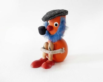 Vintage Danish Orange Painted Wooden Figurine Blue Bearded Man with a Cap and a Pipe