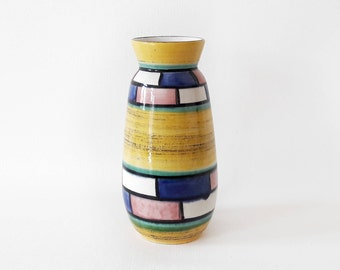 Vintage West German Vase in Yellow Blue Pink and White