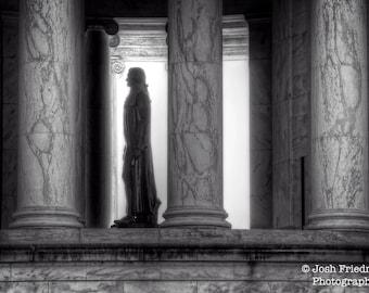 Thomas Jefferson Memorial Black and White Photograph Washington, D.C. U.S.A. President  Declaration of Independence Gray Wall Art Print