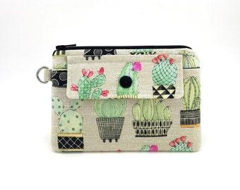 Cactus Coin Purse - Cactus Zipper Pouch - Cactus Zippered Bag - Snap Pouch - Zipper Wallet - Padded Pouch - Gift ideas - Tan Change Purse