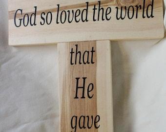 God So Loved the World Cross Wood Sign