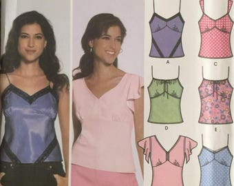 Simplicity 5060, Size 12-14-16-18-20, Misses' Design Your Own Tops with Trim Variations Pattern, UNCUT, Cold Shoulder, Tank Top, Slip Top