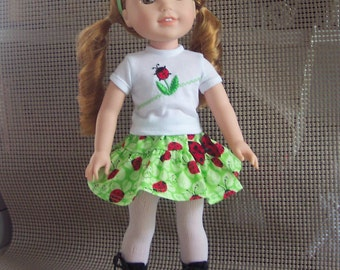 Fits Wellie Wishers Dolls, American Girls new line of Dolls,Garden outfit handmade. LadyBug theam, Straw Hat optional, Shades of Green