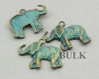 20 Green Patina Elephant Charms BULK wholesale pendant beads 22X25mm CM1006BR