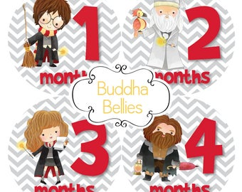 Harry Potter Fans Celebrate with Baby Month Stickers - Hogwarts Baby Stickers - Milestone Stickers - Baby Monthly Stickers - Baby Decals
