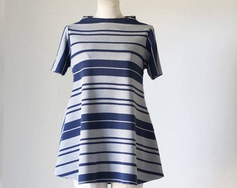 Striped Short Sleeve Swing Top/Business Casual Top/ Striped Tunic/Women's Top/Women's Business Casual Top