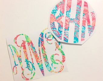 Lilly Pulitzer Print Inspired Monogram Vinyl Decal Personalized Custom Sticker