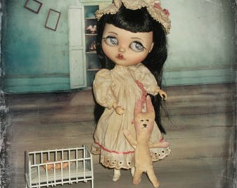 Blythe ~ Vintage  Inspired Nightgown~ Cap ~ Rabbit ~ 3 Piece  ~ By KarynRuby