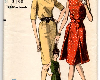 "1960's Vogue Day Dress with Flyaway Overskirt Pattern - Bust 32"" - No. 5515"