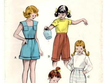 "1950's Butterick Playsuit, Romper, Shirt and Pants Pattern - Bust 32"" - No. 6146"
