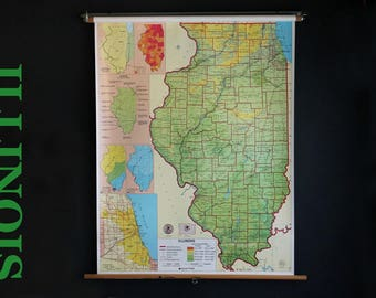 Vintage School Pull Down Map State Of Illinois Nystrom Wall Hung Classroom Retractable Roller Map