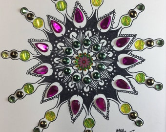 Hand-drawn Mandala with Gems