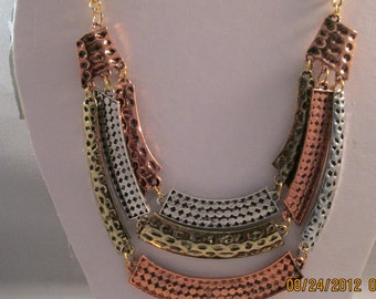 SALE 3 Row Bib Necklace with Silver Tone, Gold Tone and Copper Tone Pendants on a Gold Tone Chain