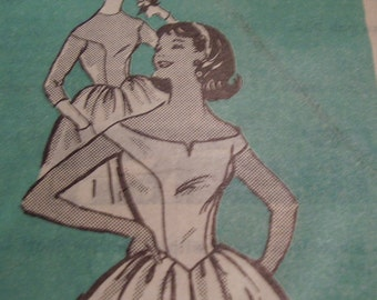 Vintage 1950's Mail Order 4907 Dress Sewing Pattern Size 11, Bust 31 1/2