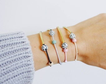 Brass & Freckles: Bracelet with brass tube and speckles/pastel or neutral/with color selection