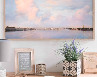 Panoramic wall art, landscape print, extra large art, cloud photography, pink blue living room decor, 10x20, 12x24, 24x48, St Petersburg art