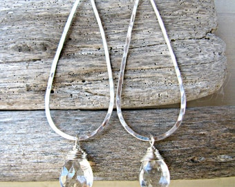 Sterling Silver Elongated Teardrops Hoops with Quartz Gemstone