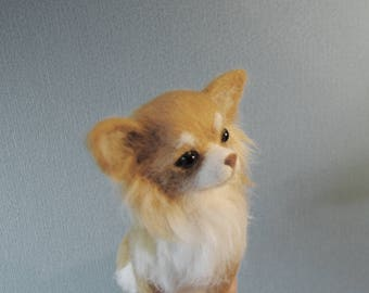 Needle Felted Long Haired Chihuahua, Custom Made Dog Portrait, Handmade Animal, Chihuahua or any other breed - made to order