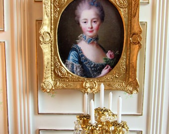 1:12th Scale ~ Dolls House Miniature Painting ~ 18th Century Portrait in Gilded Swept Frame ~ French Decor