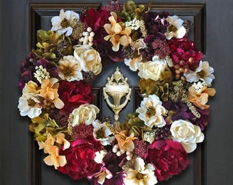 Floral Front Door Wreaths, Floral Wreath for Front Door, Flower Door Wreath, Fall Home Decor Wreath, Floral Door Wreath, Fall Flower Wreath
