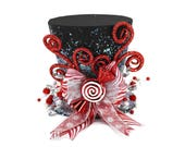 Christmas tree topper ,Top hat tree topper, Christmas table decoration, Silver white and Red Christmas decoration New monogram option