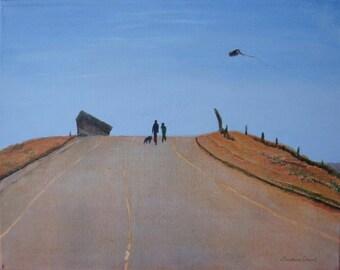 """Original acrylic painting entitled """"Kite Flyers"""""""