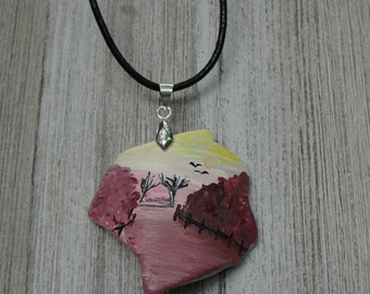 One-of-a-Kind OOAK Hand Painted Upcycled Tumbled Glass Woodland Pendant 45x41mm