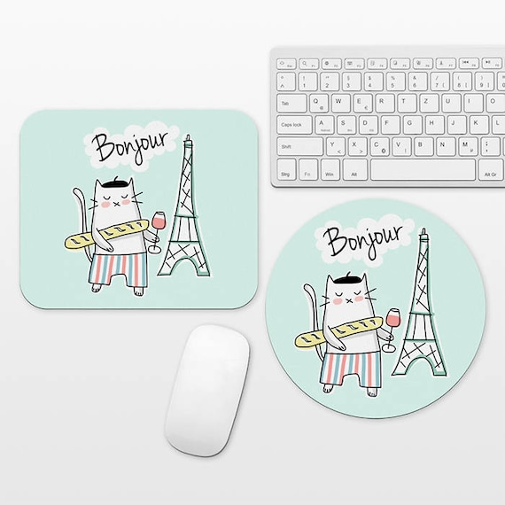 French Cat Mouse Pad Round or Rectangle, Travel Mouse Pad Cute Cat Mousepad, Wine Eiffel Tower Paris Desk Decor, Mint Green Desk Accessories