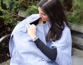 CLOAK & CUDDLE®: first fashionable and full coverage breastfeeding cover / nursing cover in lightweight, breathable, 100% cotton chambray