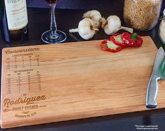 Custom Cutting Board, Personalized Cutting Board, Wedding Gift, Housewarming Gift, Engraved Wood Cutting Board, Kitchen Conversion Chart